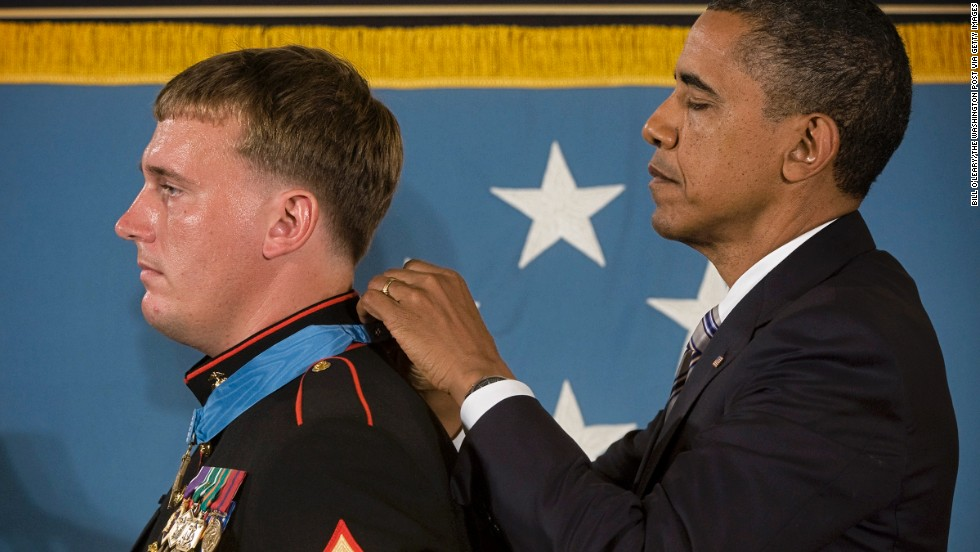 "Obama awards the Medal of Honor to Marine Sgt. Dakota Meyer in September 2011. In fighting at Gangjal, Afghanistan, on September 8, 2009,  while manning a gun truck, ""Meyer killed a number of enemy fighters with the mounted machine guns and his rifle, some at near point blank range, as he and his driver made three solo trips into the ambush area,"" his citation said."