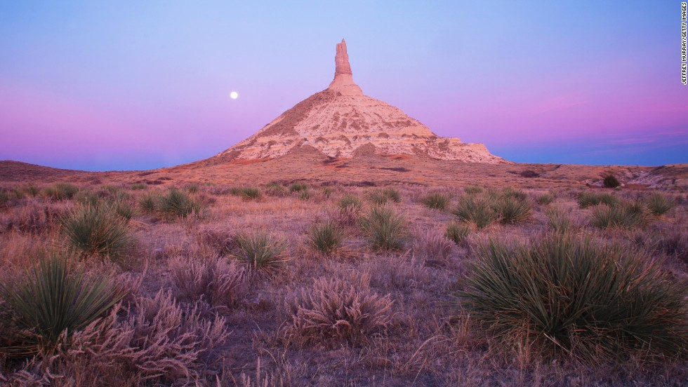 Pioneers heading west along the Mormon, Oregon and California trails would appreciate seeing the landmark known as Chimney Rock National Historic Site in Nebraska. It's the result of a volcanic eruption and millions of years of erosion.
