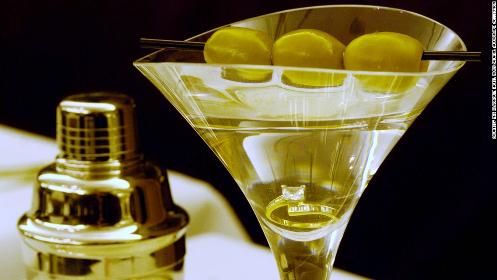 Food and beverage director Alex Aubry of New York's The Algonquin Hotel Times Square, Autograph Collection, personally serves this thirst-quenching $20,000 diamond-filled martini.