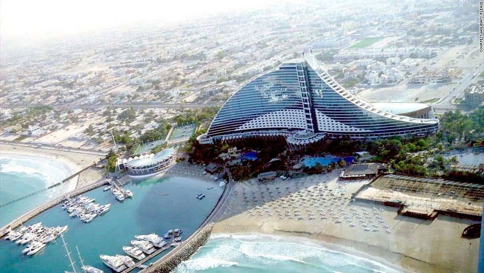 After Bordeaux, there's a renal rest stop in Dubai, with a stay at the Jumeirah Beach Hotel.