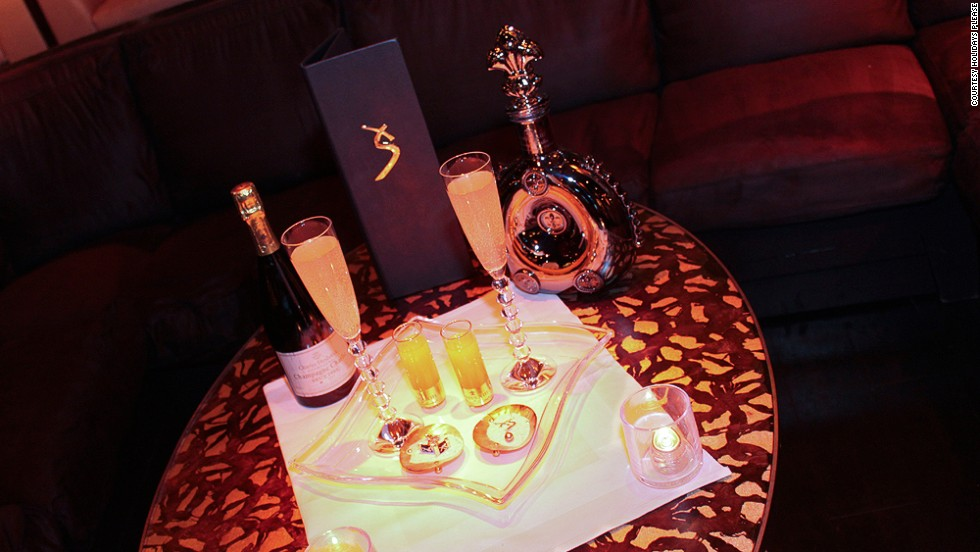 The iconic Ono cocktail-for-two at the Aria Resort and Casino in Vegas is sometimes served in a gold-rimmed Baccarat Champagne flute.