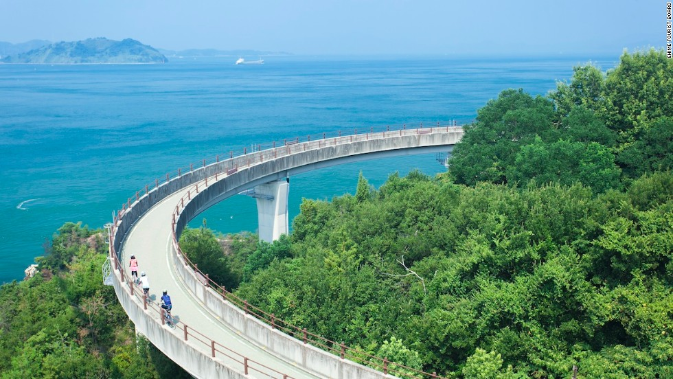 Shimanami Kaido is a 60-kilometer-long road and bridge network running between Japan's Hiroshima and Ehime prefectures. The route connects across several islands, offering sublime views of the Seto Inland Sea National Park.