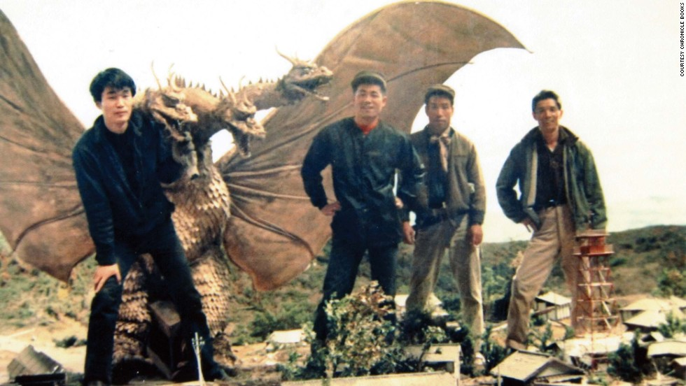 "Mechanical engineer Akinori Takagi, left, and members of the effects crew work on the 1964 film ""The Greatest Battle on Earth."""