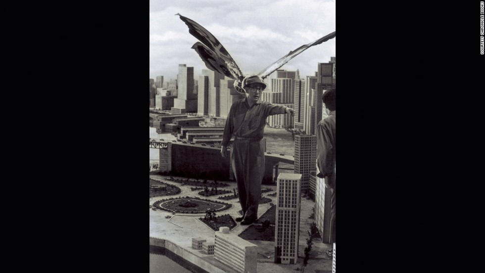 Tsuburaya supervises Mothra's attack on New Kirk City in 1961.