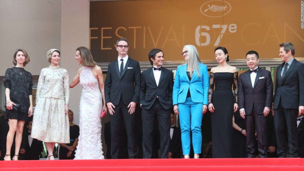 The jury members for the feature-film category pose on the red carpet May 14. From left: Sofia Coppola, Leila Hatami, Carole Bouquet, Nicolas Winding Refn, Gael Garcia Bernal, Jane Campion, Jeon Do-yeon, Jia Zhangke and Willem Dafoe