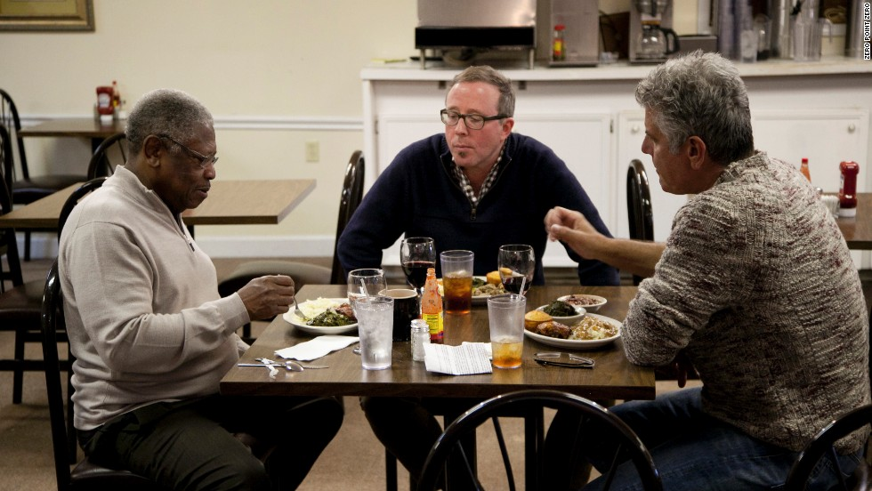 Sen. Willie Simmons joins Anthony Bourdain and Southern Foodways Alliance Director John T. Edge for lunch at his restaurant, Senator's Place in Cleveland, Mississippi.