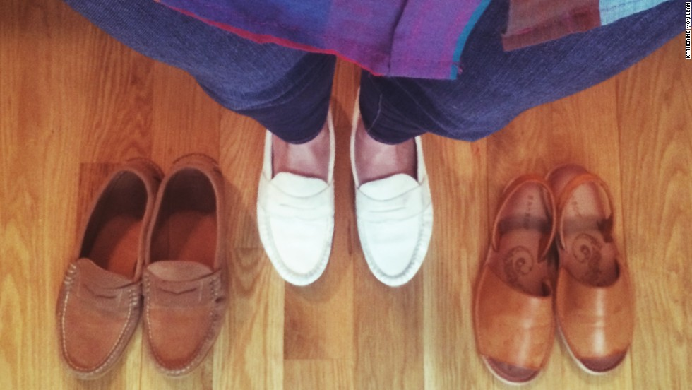 """My three favorite flats are comfortable for walking to work or chasing my kids,"" said <a href=""http://instagram.com/pierreponthicks"" target=""_blank"">Katherine McMillan</a>, a working mother of two in Brooklyn, New York. ""Haven't worn my white suede loafers since last summer so they're happy to get back out there."""