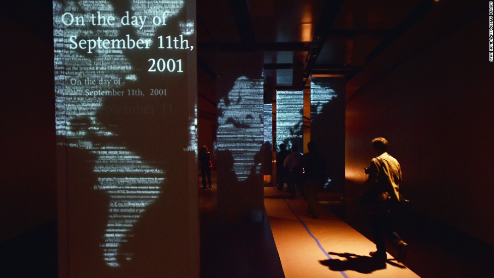 Audio and visual panels tell the story of 9/11 during a press preview of the memorial.