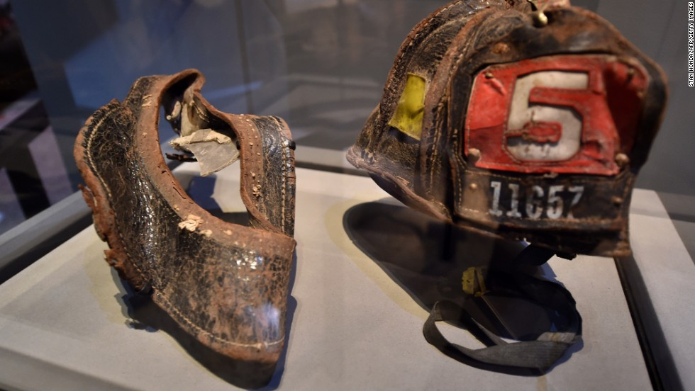 Helmets worn by firefighters on September 11, including those of Christian Waugh, were donated by families.