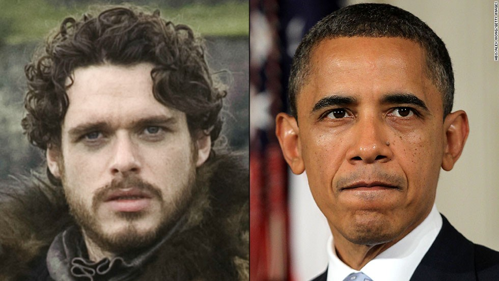 <strong>Robb Stark / President Obama:</strong> Both are charismatic men who burst on the scene and never lost a battle in their campaigns for high office. Followers rallied around them, and enemies underestimated their ability to win. But both were stymied when they reached out to political opponents. Some say they believed too much in the good will of their enemies.