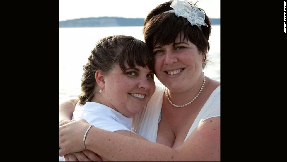 At her wedding in July 2011, Morgan Victoria, right, weighed close to 255 pounds and wore a size 18 dress. Her wife, Lyndsay Rosenlund, weighed about 230 pounds.