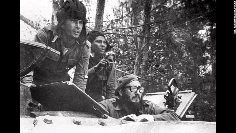 Cuban leader Fidel Castro, lower right, sits inside a tank near Playa Giron, Cuba, during the Bay of Pigs invasion on April 17, 1961. On that day, about 1,500 CIA-backed Cuban exiles landed at Cuba's Bay of Pigs in hopes of triggering an uprising against Castro. It was a complete disaster for President John F. Kennedy's fledgling administration.