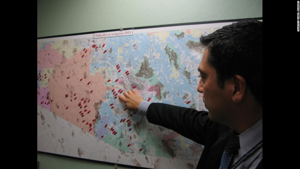 "The Arizona desert is a common crossing place for migrants traveling to the United States from Mexico. An alarming number perish along the way, creating what some investigators have called ""a humanitarian crisis at the border."" Jeronimo Garcia helps identify corpses for the Mexican Consulate in Tucson. Each red dot on this map shows a death in the desert."