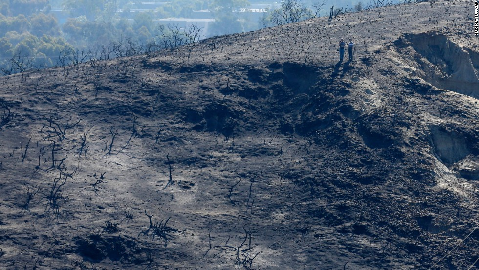 People look over a canyon ravaged by fire in Carlsbad, California.
