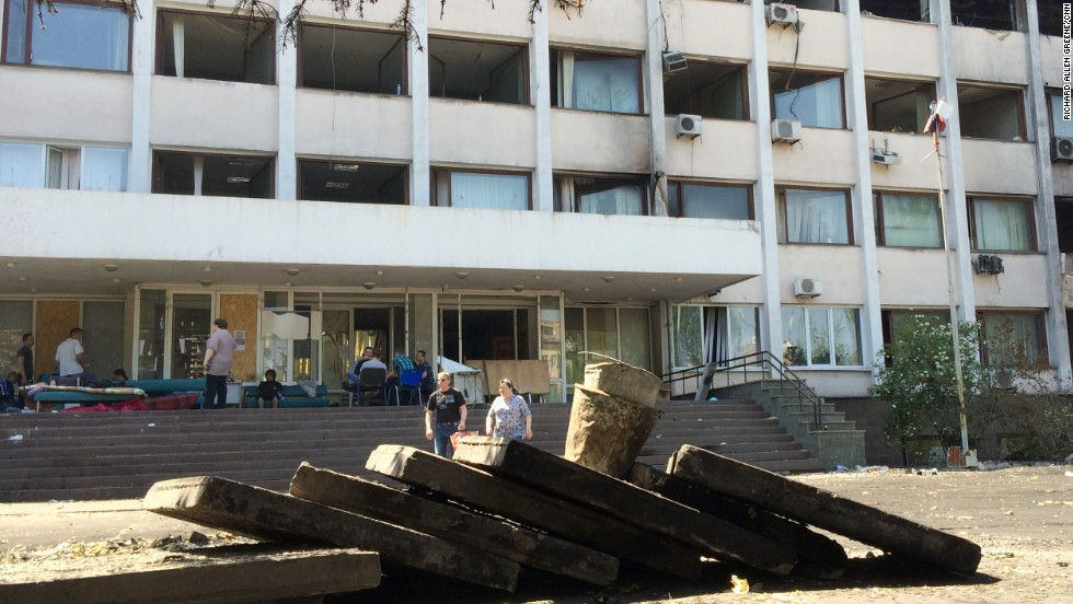 Little remains of the separatist barricades which used to stand in front of the city hall of Mariupol, in Ukraine's Donetsk region.