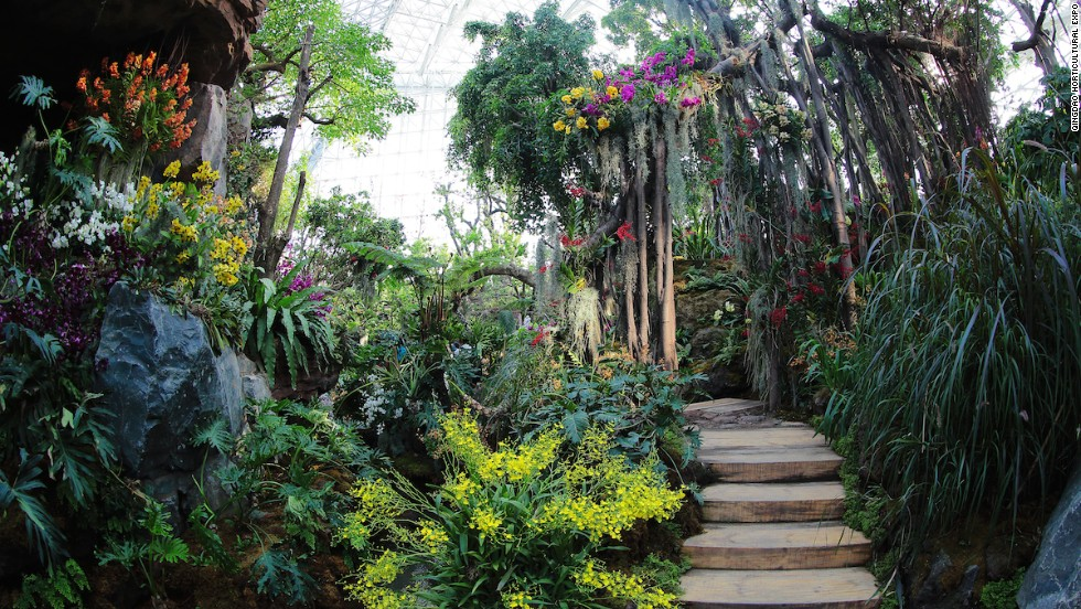 The 23,000-square-meter Botanical Garden uses low carbon climate control systems to regulate temperatures in four distinct plant-growing climates.