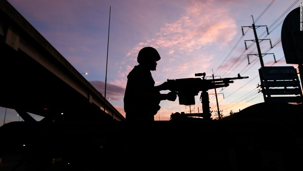 A soldier stands guard outside the Centre for the Administration of Peace and Order in Bangkok on May 20.