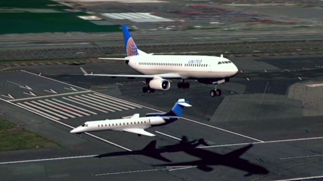 Mere yards separated planes in near miss