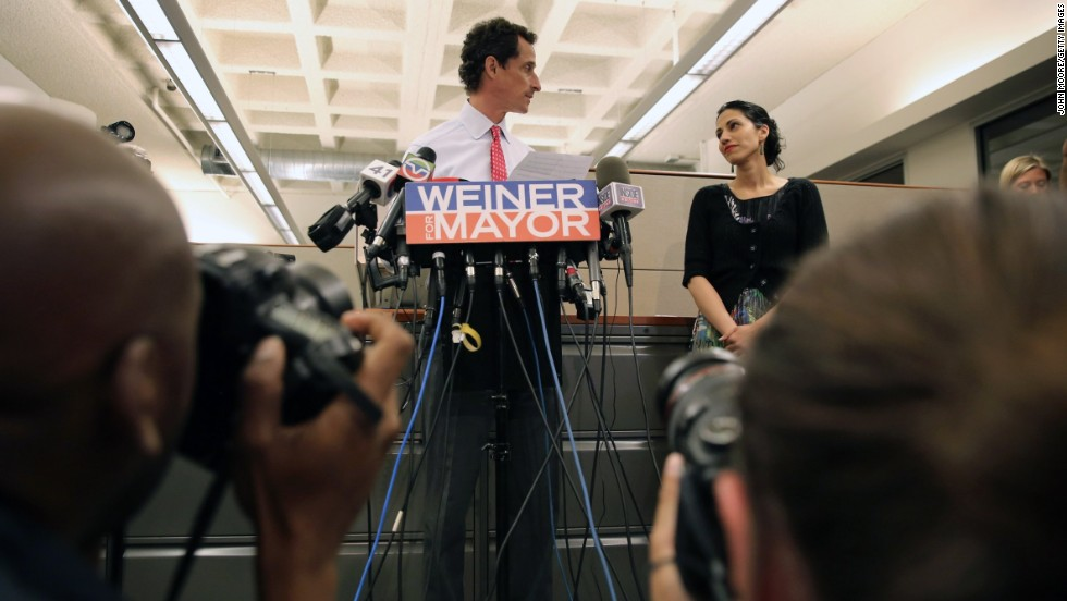 "Huma Abedin <a href=""http://edition.cnn.com/2013/07/24/living/weiners-wife-should-huma-stand-by-her-man/index.html?iref=allsearch"">stood by husband Anthony Weiner</a> on July 23, 2013, as he addressed new allegations of lewd online conversations. It was a familiar scene for the pair; in 2011, Weiner resigned from Congress after explicit text and online exchanges surfaced between him and several women. The couple have been married since 2010."