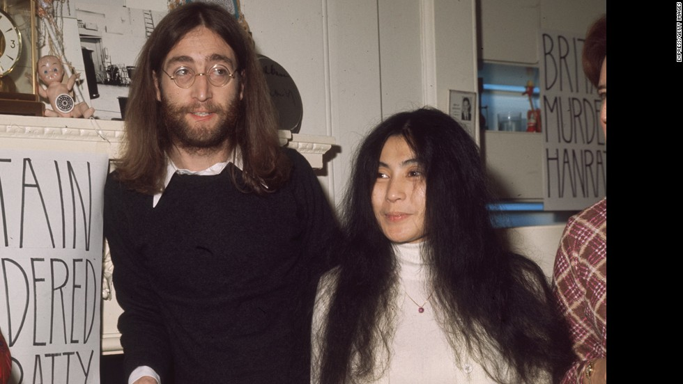 John Lennon -- seen here in 1969 with his wife, Yoko Ono -- was shot and killed in December 1980 outside of his apartment building in New York City by Mark David Chapman. Chapman remains jailed.
