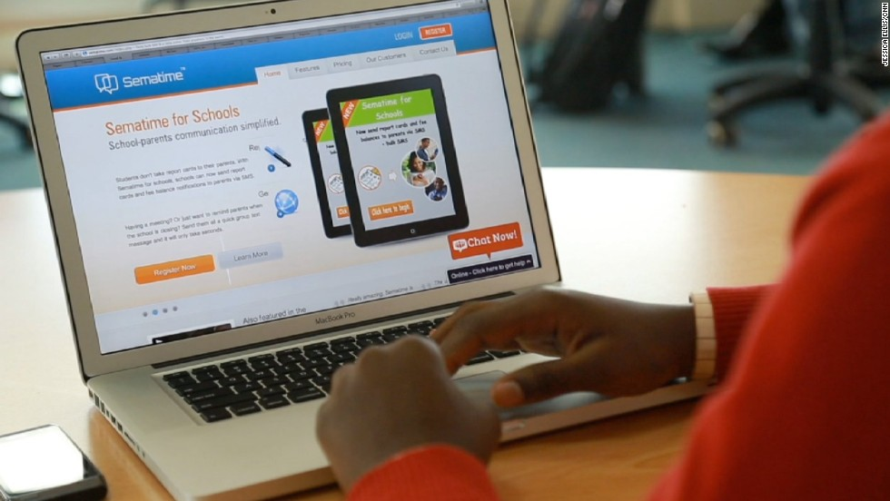 One of his biggest customers are schools, which use Sematime to send report cards directly to parents' mobile phones. The 26-year-old got the idea while at university in Nairobi, where he studied computer science.