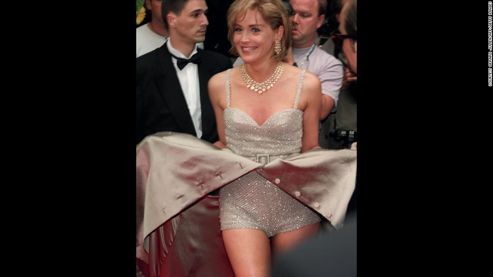 "Sharon Stone created an iconic Cannes moment in 1995 by unceremoniously opening up her Valentino gown to reveal a sequin playsuit, as she arrived at the screening of Doublas Keeve's aptly named film ""Unzipped."""