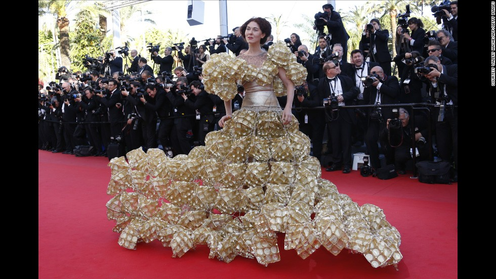 "The second guest who relegated the celebrities to mere mortal status wore a dress made of biscuit trays to the screening of ""The Past"" at the 66th edition of the Cannes Film Festival."