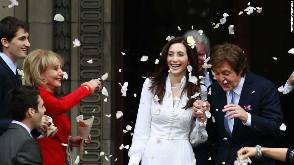 Some celebrities came out (note Barbara Walters throwing rose petals) when former Beatle Paul McCartney married American heiress Nancy Shevell in London in 2011.