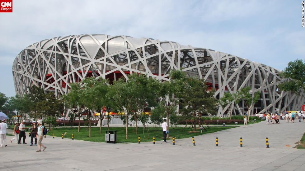 "<a href=""http://ireport.cnn.com/docs/DOC-1127693"">Julee Khoo</a> looks at <a href=""http://www.n-s.cn/en/"" target=""_blank"">Beijing's National Stadium</a>, known as the Bird's Nest, and says it's ""amazing how difficult it was for humans to recreate something that a bird does instinctively."" The stadium, created for the 2008 Summer Olympics, is largely empty these days."