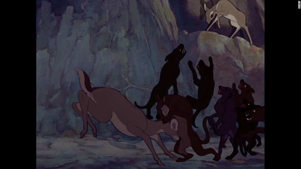 "Since its arrival in 1942, the animated classic ""Bambi"" has managed to scar generations of kids without even showing the villain's face. One minute, the adorable young Bambi is out in a forest, just hanging out with his mom, and the next minute they're both running for their lives from an unseen hunter. Needless to say, Bambi's mother doesn't make it. <a href=""https://www.youtube.com/watch?v=-eHr-9_6hCg"" target=""_blank"">Gets us every time.</a>"