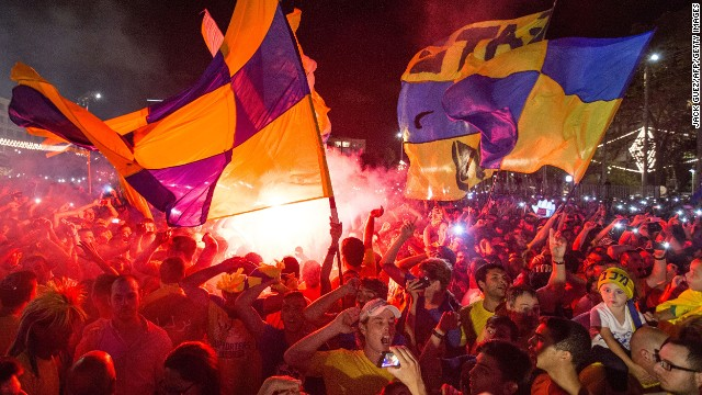 Maccabi Tel Aviv fans celebrate their team's win in Kikar Rabin or Rabin Square in Tel Aviv, on May 19, 2014.