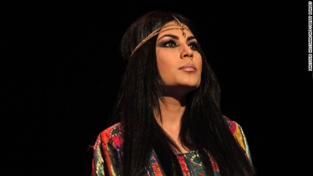 Afghan pop singer Aryana Sayeed performs during a charity concert at the French Culture center (IFA) in Kabul on July 7, 2013.