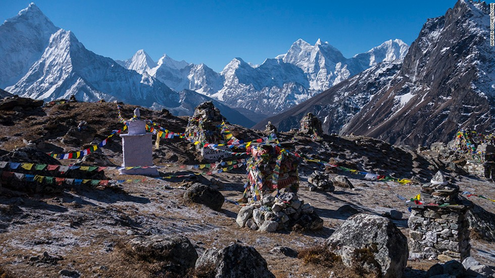 Near Everest Base Camp, an area is filled with memorial structures in honor of the climbers that have died on the mountains.