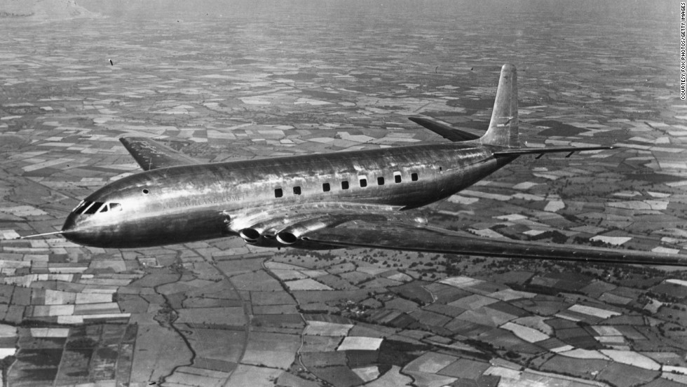 "1952: The ""de Havilland Comet,"" designed by British aviation pioneer Captain Sir Geoffrey de Havilland, was the first commercial jet airliner to go into production and made its commercial debut in 1952."