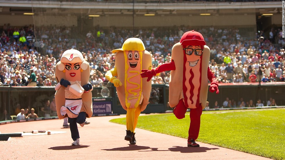 Onion, Mustard and Ketchup race in the Hot Dog Derby during a 2008 Major League Baseball game between the Tampa Bay Rays and the Cleveland Indians in Cleveland.