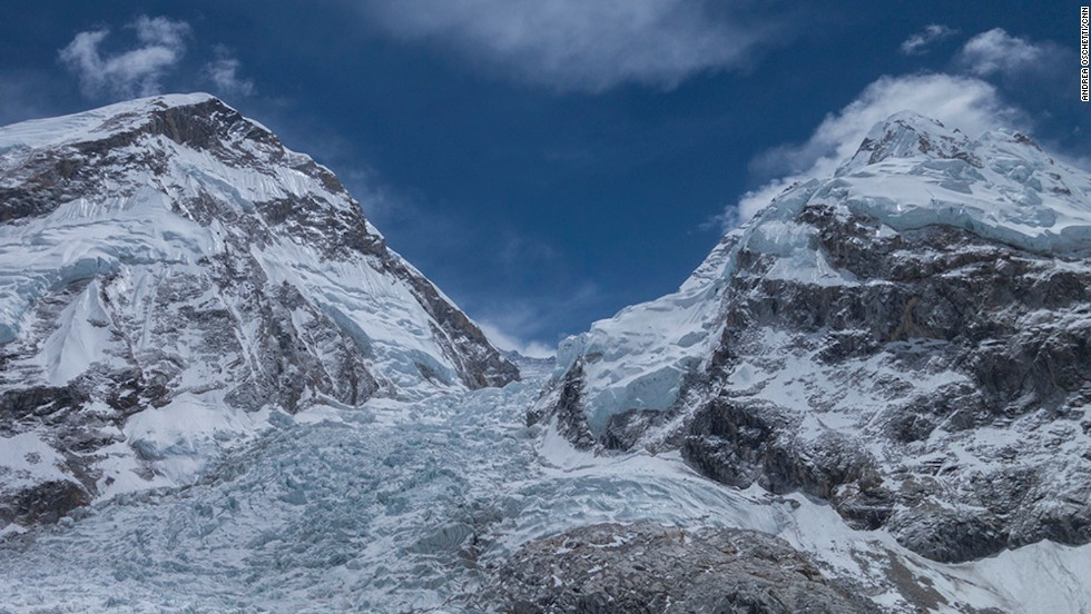 The Khumbu Icefall, where the tragedy occurred. It's considered one of the most dangerous parts of the South Col route, and takes hours to ascend.