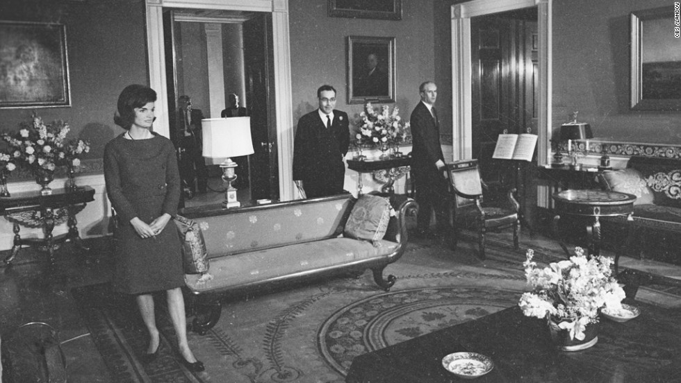 "First lady Jackie Kennedy is shown in the Red Room of the White House on January 15, 1962, during the CBS News special program ""A Tour of the White House with Mrs. John F. Kennedy."" The program showed off the restoration work that was spearheaded by the first lady."