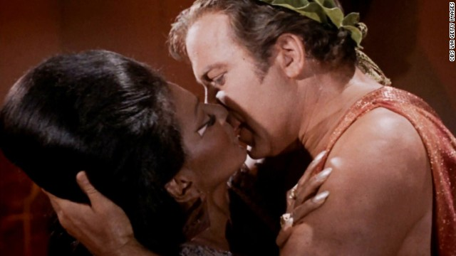 "In 1968 ""Star Trek"" actors Nichelle Nichols and William Shatner performed the first interracial kiss on American TV."