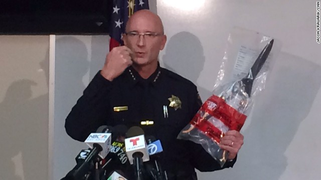 Salinas Police Chief Kelly McMillin holds the gardening shears used by a suspect who was shot by police on Tuesday.