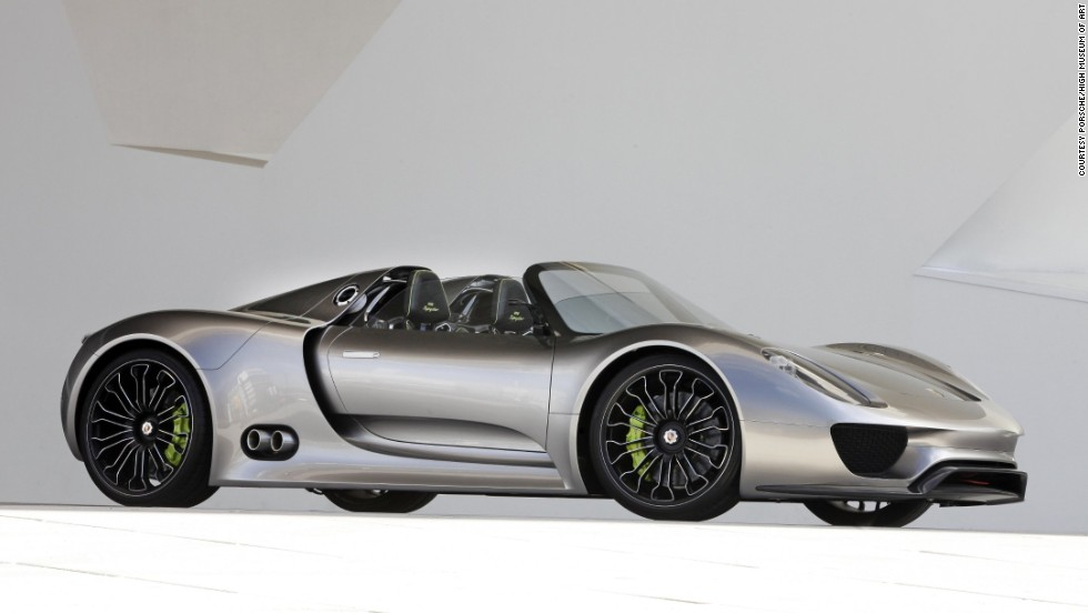 "The Porsche 918 Spyder Concept Car, designed by Michael Maurer, is the fastest car of the exhibit, said consulting curator Ken Gross. ""It combines high-tech racing features with electric mobility options selected by a push-button control on the steering wheel,"" the museum said. ""The driver chooses between the four options, -- from the fully electric -- to the maximum, which uses all systems for optimum performance."""