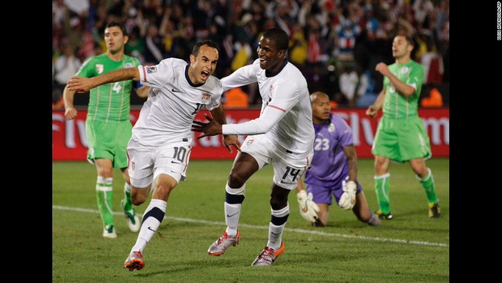 In not just a personal highlight, but one of the greatest moments in American soccer, Landon Donovan, foreground left, celebrates with teammate Edson Buddle after scoring an injury-time goal against Algeria, propelling the United States into the knockout round of the 2010 World Cup in South Africa.