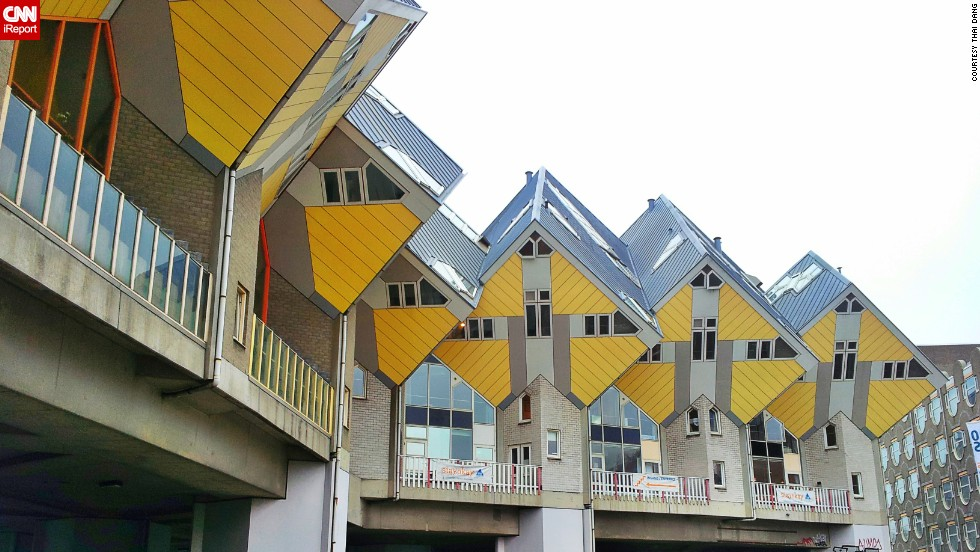 "The Cube Houses in Rotterdam and Helmond in the Netherlands were designed to open up space on the floor by creating living spaces up on the roof. <a href=""http://ireport.cnn.com/docs/DOC-1125497"">Thai Dang </a>was intrigued to learn that people live inside these geometric homes."