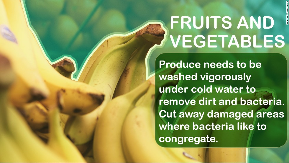 "Bacteria can collect on the skin of fruits and vegetables. So even if there is an outer layer you'll be peeling off, you need to wash it thoroughly to prevent transmission to the part you're eating.  <a href=""http://nihseniorhealth.gov/eatingsafely/keepfoodsafe/01.html"" target=""_blank""><br />Source: NIH</a>"