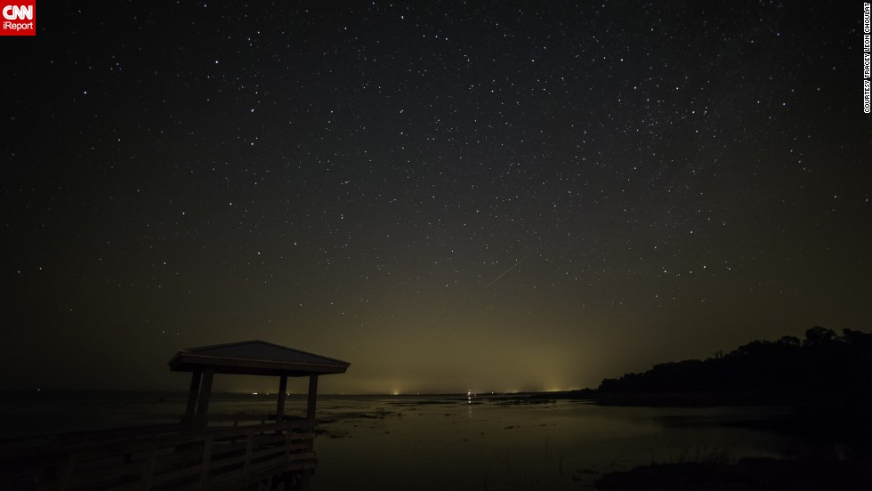 """<a href=""""http://ireport.cnn.com/docs/DOC-1136466"""">Tracey Choulat</a> stood outside Pierson, Florida, watching for the Camelopardalids meteor shower. After waiting for three hours, he jokingly renamed it a """"meteor sprinkle."""""""