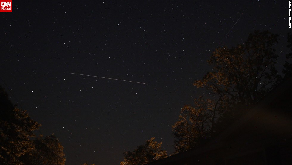 "Astrophotographer <a href=""http://ireport.cnn.com/docs/DOC-1136672"">Barry Shupp</a> was hoping to get photos of the meteor shower from Hustontown, Pennsylvania. Instead, he had a chance to photograph the International Space Station while also catching a meteor passing by overhead."