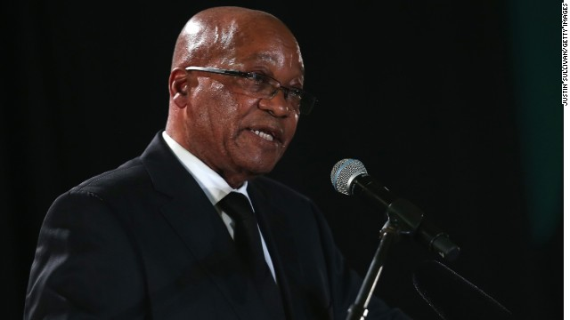 South African President Jacob Zuma speaks during an African National Congress (ANC) led alliance send off ceremony at Waterkloof military airbase on December 14, 2013, in Pretoria, South Africa.