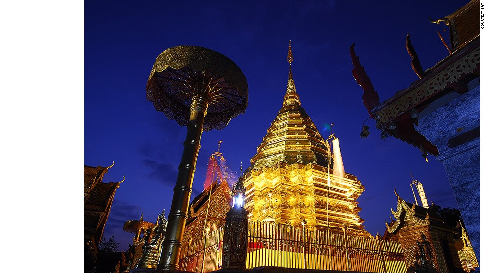 Doi Suthep mountain is the most recognizable landmark in Chiang Mai. Its glimmering mountaintop temple is a popular first stop for visitors.