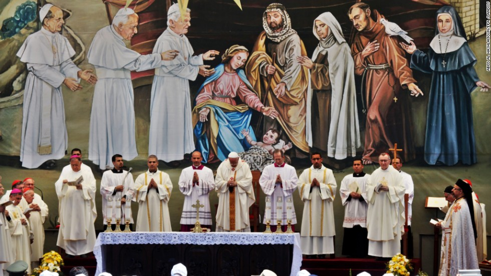 Francis, center, leads an open-air Mass in Bethlehem on May 25.