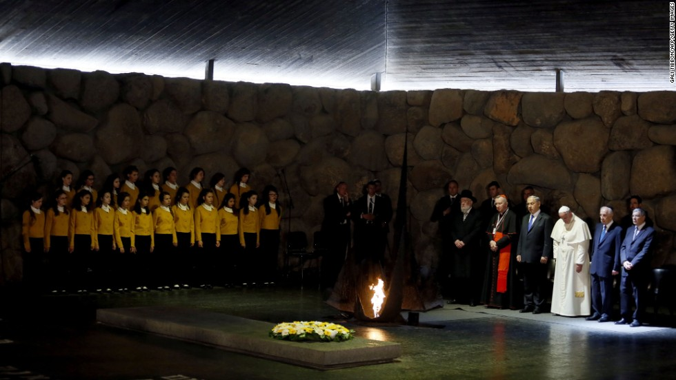 Francis visits the Hall of Remembrance at the Yad Vashem museum on May 26. Here the Pope stands with Israeli President Shimon Peres, second from right, and Israeli Prime Minister Benjamin Netanyahu, fourth from right.