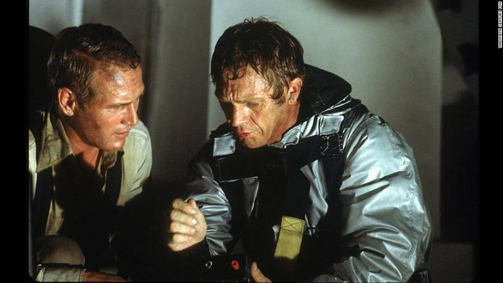 """The Towering Inferno,"" starring Paul Newman, left, and Steve McQueen, was the biggest of the year's disaster films. Others included ""Earthquake"" and ""Airport 1975."""